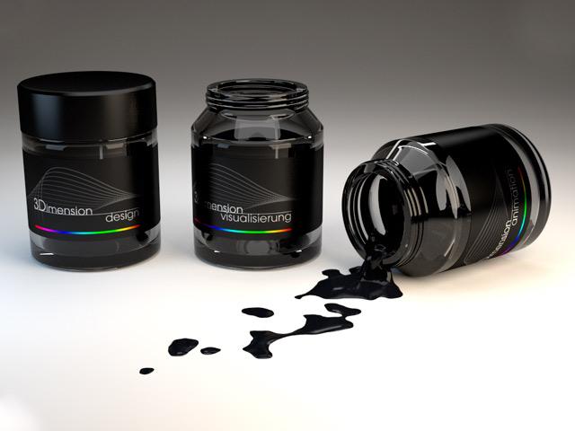3D Glasbehälter mit TMT Aufschrift