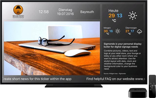 Apple TV mit Monitor und der App Sigmondo