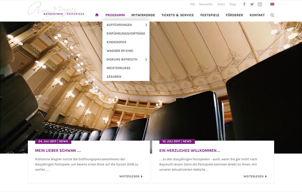 Festspiele Bayreuth Website Screenshot
