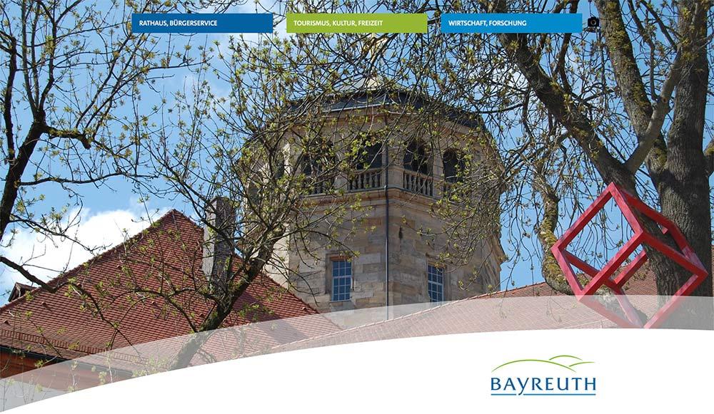 Desktop-Ansicht der Website bayreuth.de