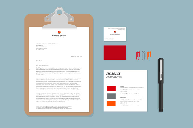 Praxisausstattung: Styleguide, Briefpapier, Visitenkarten